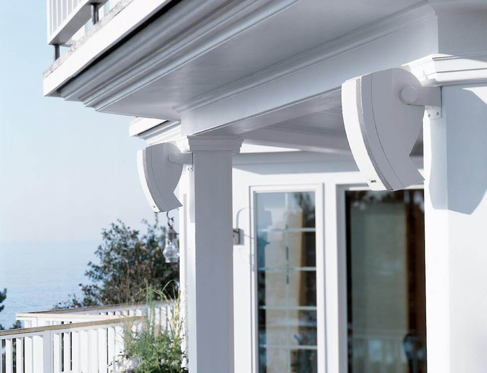 Outdoor speakers can be mounted, or nestled among outdoor landscaping in rock-styled outdoor speakers.