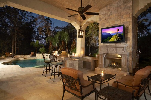 Outdoor TV idea in your custom home build by Hibbs Homes