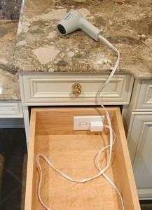 Bathroom Outlet in Drawer Custom Home Design Home Builder Near Me
