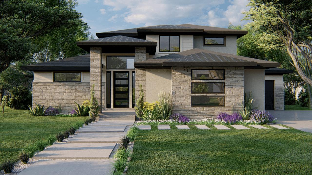 Hillside Modern Prairie-Style Two Story Custom Floorplan