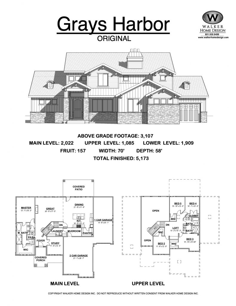 Grays Harbor 2 Story Craftsman Floorplans