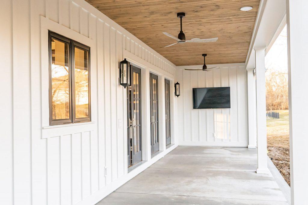 Outdoor Entertainment Area in a Custom Modern Farmhouse